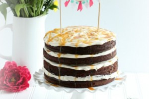 Chocolate naked cake with salted caramel frosting gg
