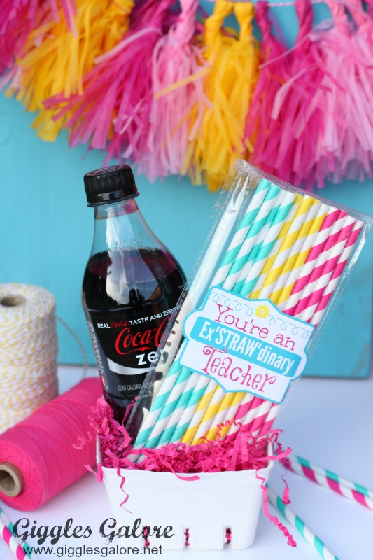 Drink and ExSTRAWdinary Paper Straw Teacher Gift_Giggles Galore