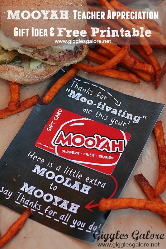 MOOYAH Teacher Appreciation Gift Idea and Free Printable