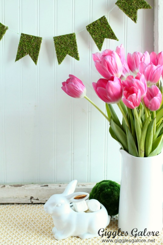 Moss Banner with Tulips