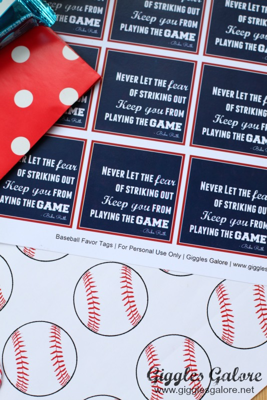Baseball Favor Printables