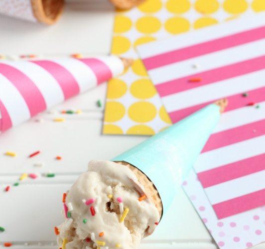 Ice cream in diy wrapped ice cream cone
