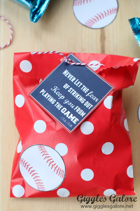 Polka Dot Baseball Favor Bag
