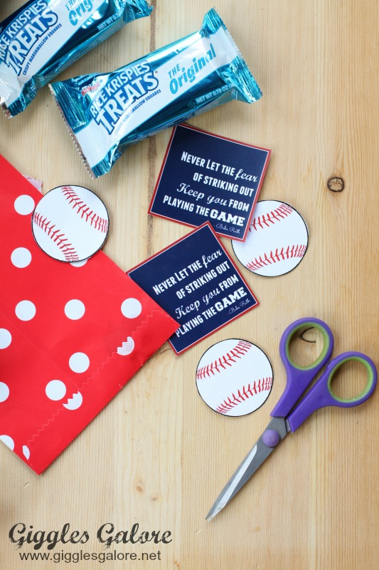 Rice Krispies Treats Baseball Favor Tags