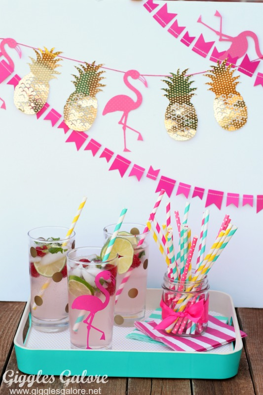 Flamingo Banner and Cups
