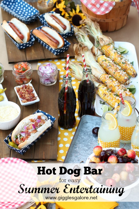 Hot Dog Bar for Easy Summer Entertaining_Giggles Galore