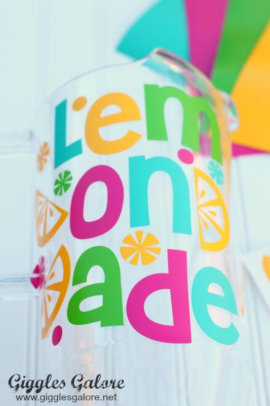 Lemonade Vinyl Sticker on Pitcher