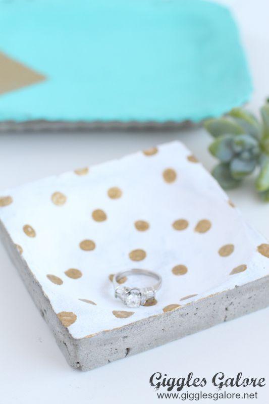 Polka Dot Painted Concrete Ring Dish