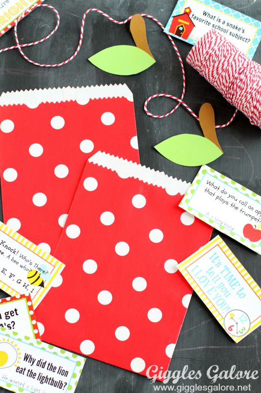 Apple Treat Bags and Lunch Box Notes