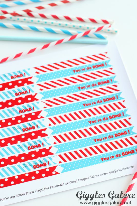 Bomb Pop Straw Flags_Giggles Galore