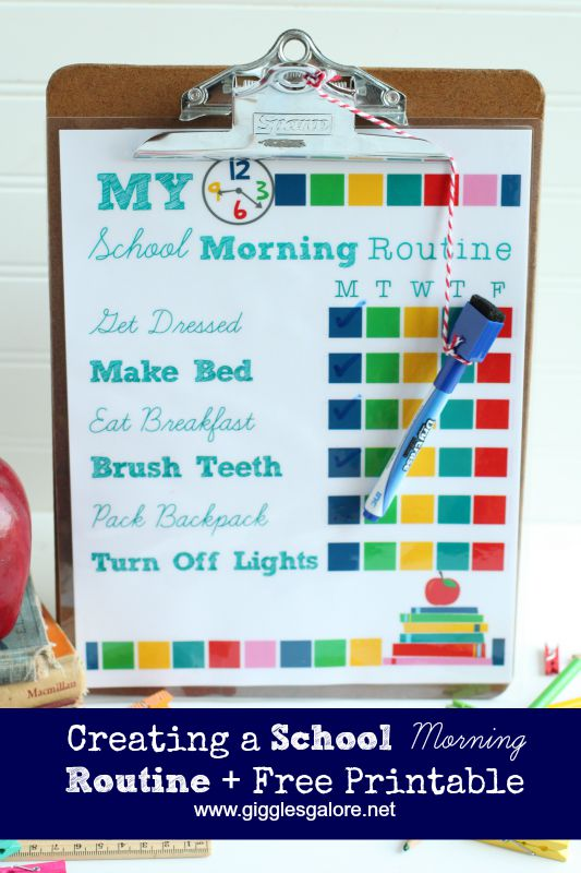 Back To School Morning Routine Checklist  Giggles Galore