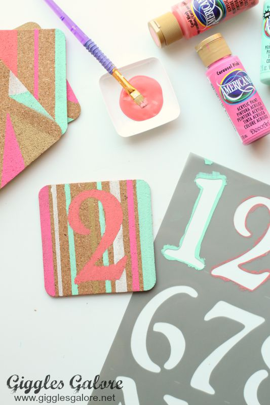 DIY Painted Coaster_Number Design
