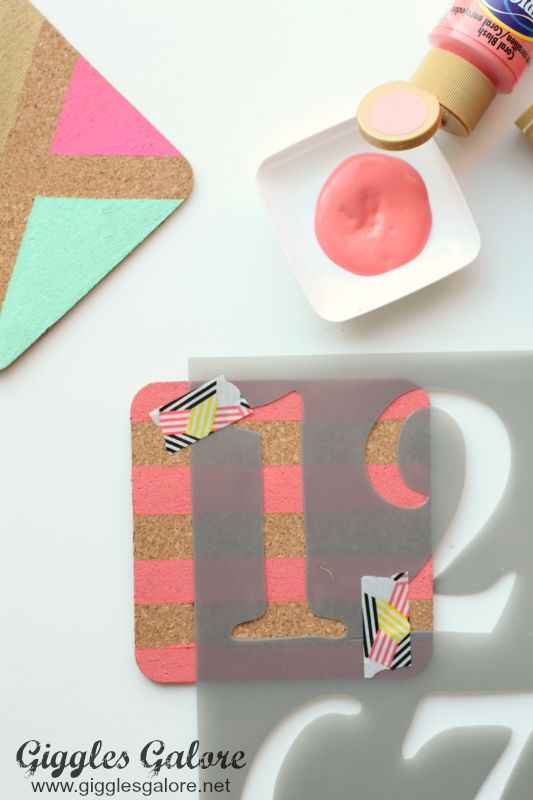 DIY Painted Coasters_DecoArt Stencil