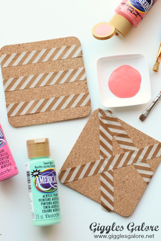 DIY Painted Coasters_Washi Tape Design