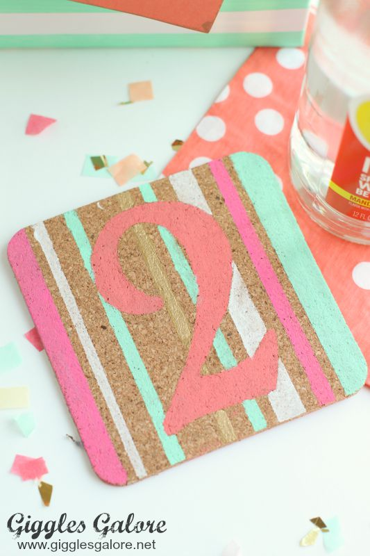 Mint and Coral DIY Painted Coasters