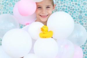 Bubble bath costume with rubber duck