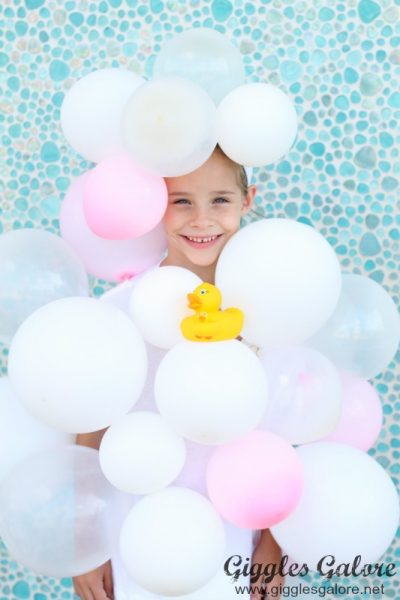 Bubble bath costume with rubber duck