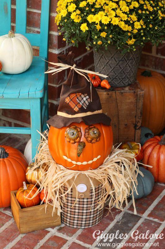 Friendly Fall Scarecrow Pumpkin