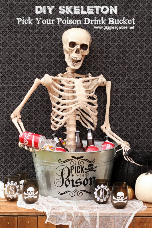 DIY Skeleton Pick Your Poison Drink Bucket Giggles Galore