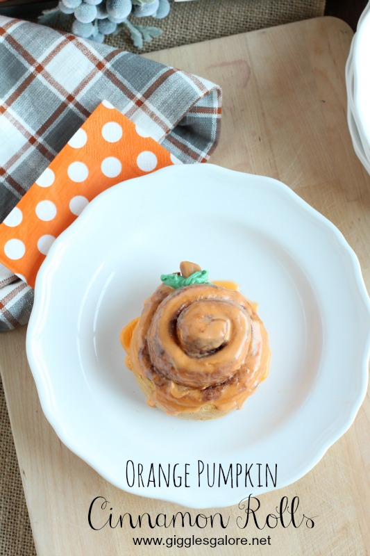 Orange Pumpkin Cinnamon Rolls_Giggles Galore