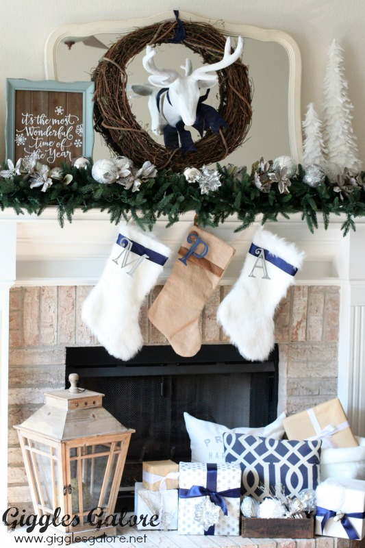 Blue and White Christmas Mantle