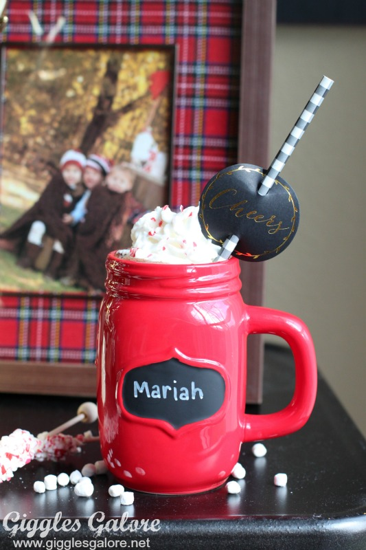 Red Mason Jar Cup of Hot Cocoa