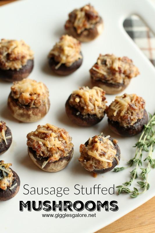 Sausage Stuffed Mushrooms_Giggles Galore