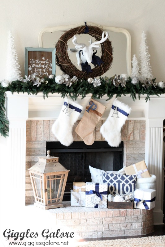 Silver and Blue Christmas Mantle