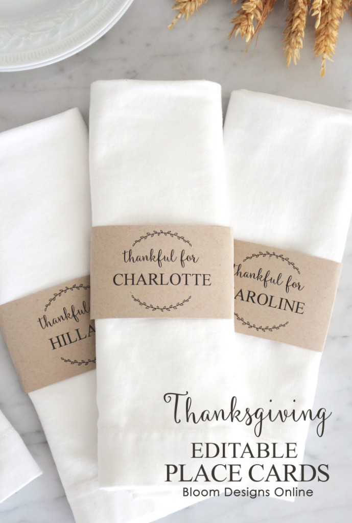 Thanksgiving Editable Place Cards