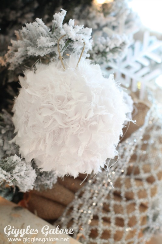 White Fluffy Ball Ornament