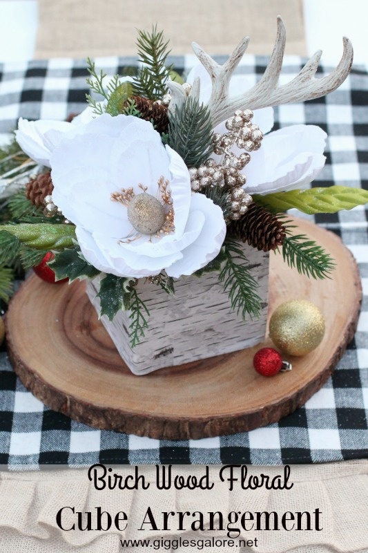 Birch Wood Floral Cube Arrangement_Giggles Galore