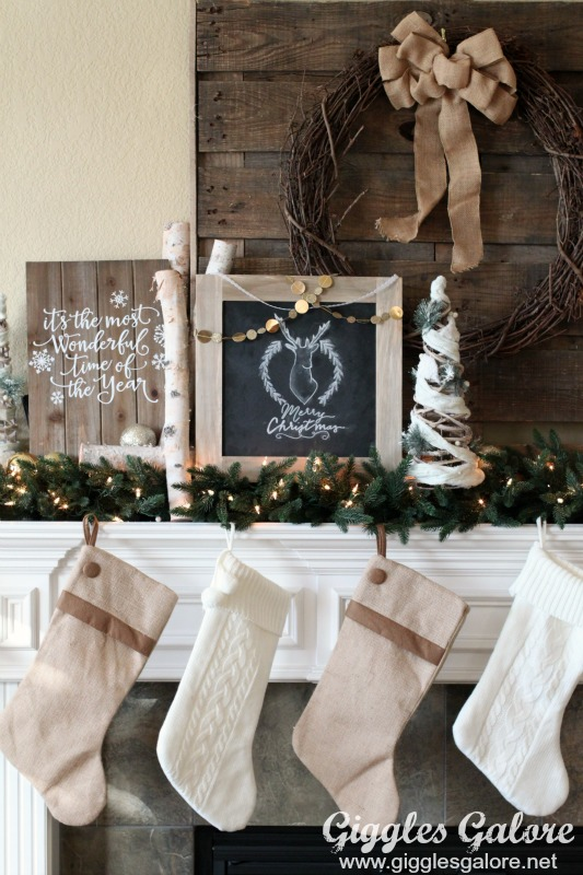 Rustic Christmas Mantle with Distressed Wooden Chalkboard