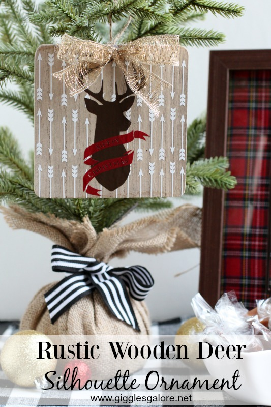 Rustic Wooden Deer Silhouette Ornament idea made with Cricut by Mariah Leeson