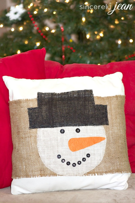 Diy Burlap Snowman Pillow Cover Giggles Galore