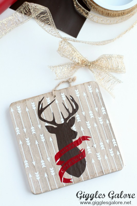 Wooden Deer Silhouette Ornament Ribbon