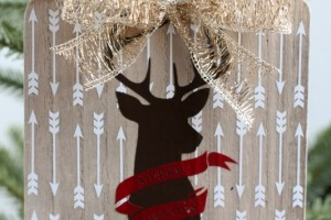Wooden deer silhouette ornament gg