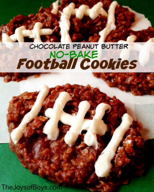 Football Game Day Foods Chocolate Peanut Butter No Bake Cookies