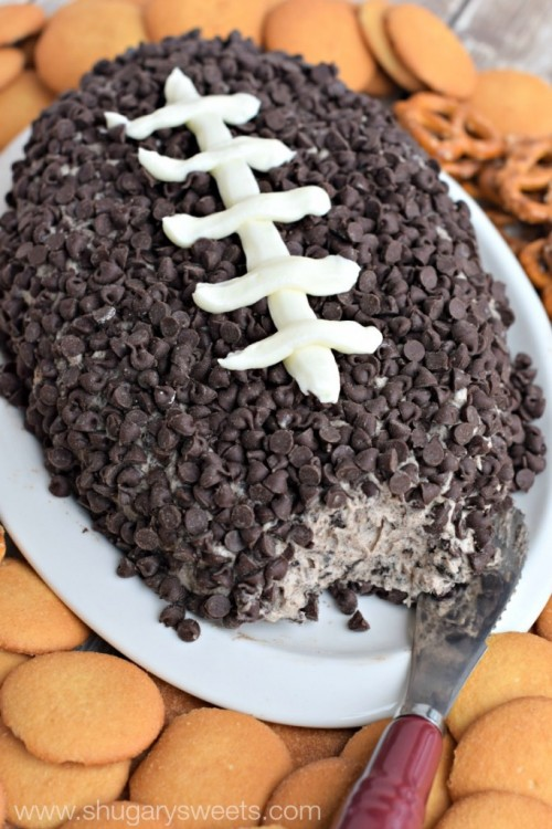 Football Game Day Foods Cookies and Cream Cheese Ball
