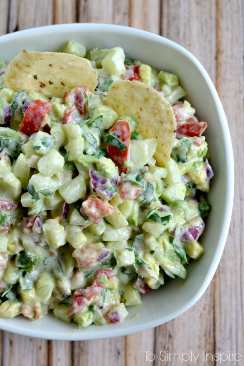 Football Game Day Foods Cucumber Avocado Salsa
