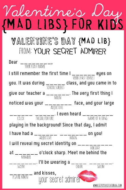 Mad Libs Valentine's Day Card Printable