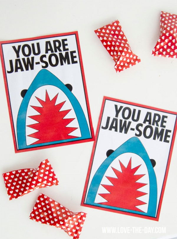valentines day card shark - Valentine's Day Printable Cards