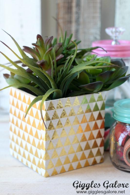 Gold Decoupage Succulent Planter