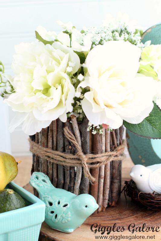 Rustic Twig Vase Centerpiece