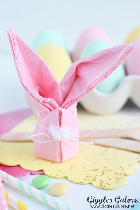 Pink Bunny Napkin Fold
