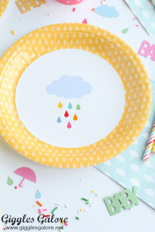 April Showers Baby Shower Plates