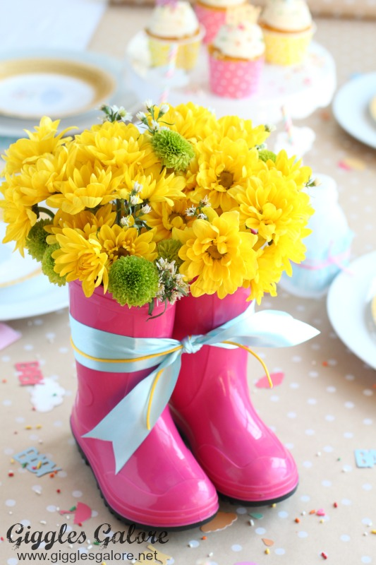 April Showers Rain Boot Centerpiece