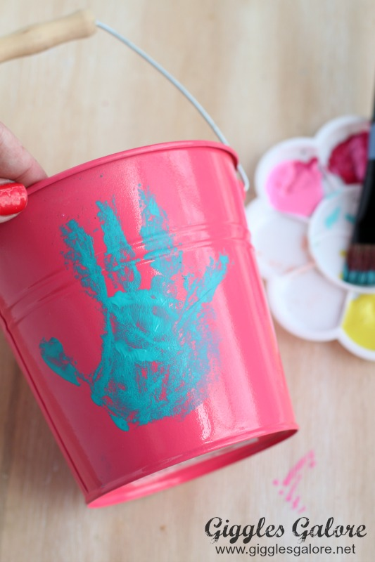 Hand print on flower pot