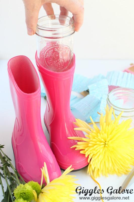 Mason Jar in Rain Boots