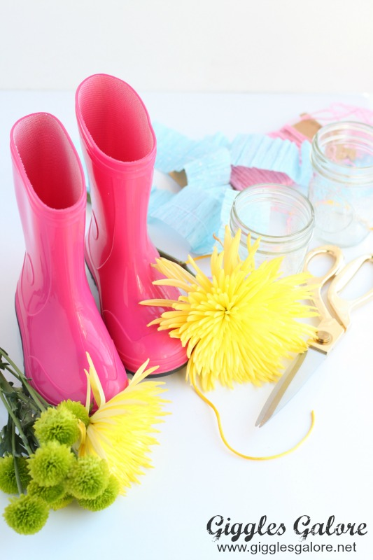 Rain Boot Flower Arrangement Supplies