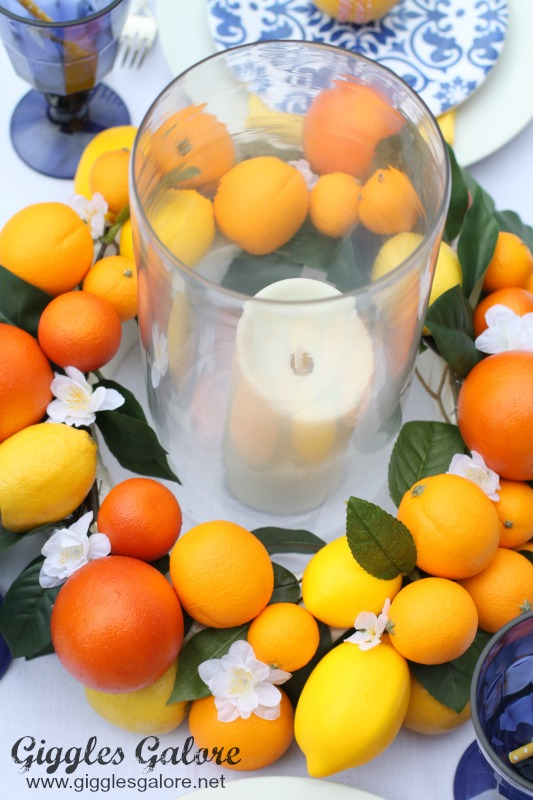 Candle in DIY Citrus Centerpiece